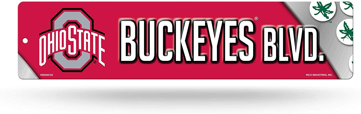 NCAA Rico Industries 16-Inch Plastic Street Sign Décor, Ohio State Buckeyes