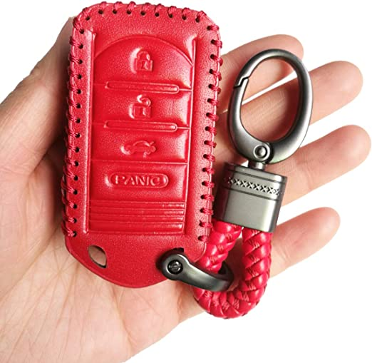 Red Hand Sewing 4 Buttons Smart Leather Key Cover Case Fob Bag Holder Glove Fit For Acura RDX MDX TL TLX IL TSX ZD ZDX NOT Fit ENGINE HOLD FOB