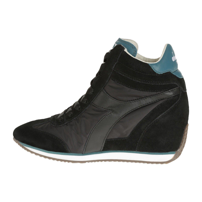 Scarpe Sneakers Donna Diadora Equipe W Nyl Win Pelle Scamosciata Nero