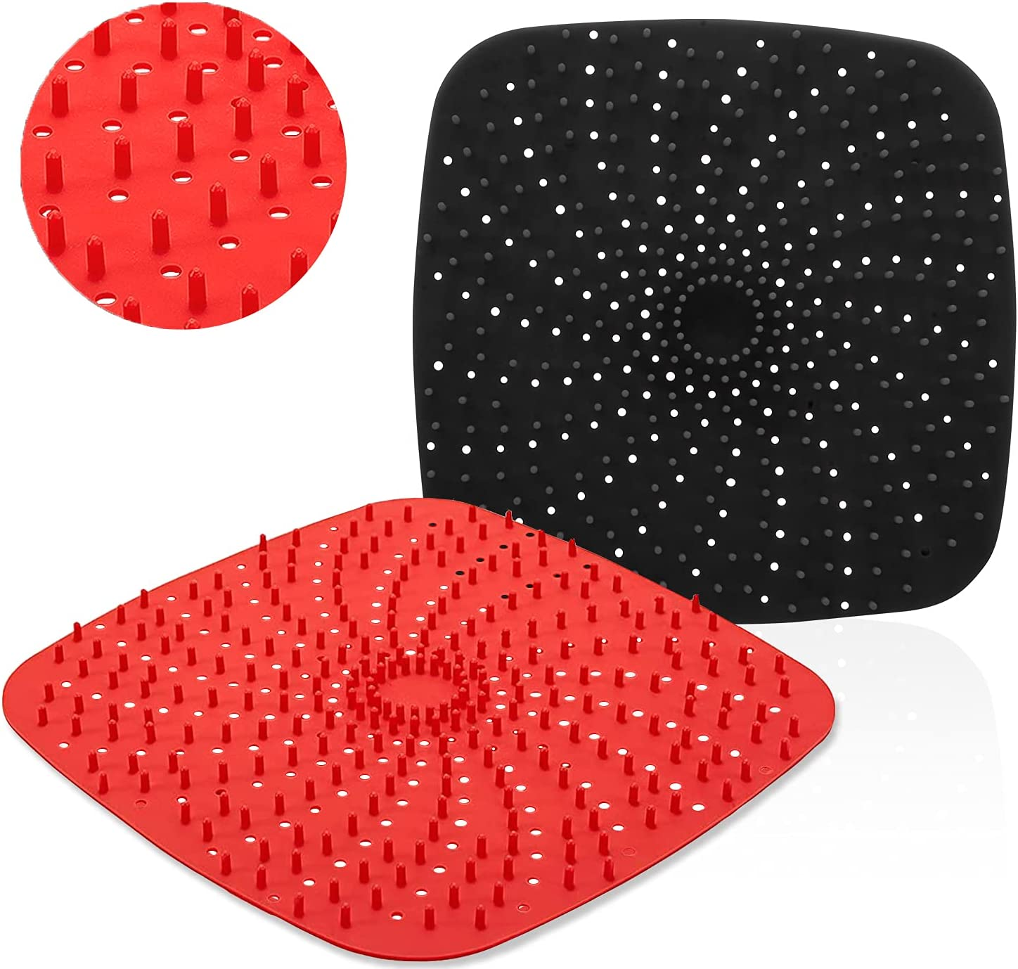 Reusable Air Fryer Liners with Raised Silicone | Patented Product | BPA Free Non-Stick Silicone Air Fryer Mats | Air Fryer Silicone Tray Accessories | 2 Size Options – 8 Inch Square