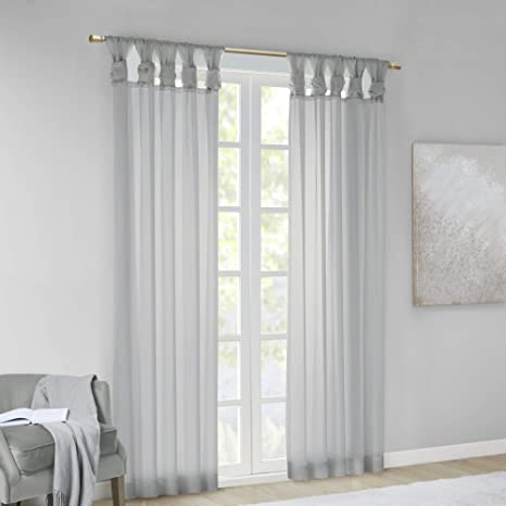Madison Park Diy Twisted Tab Sheer Window Curtain Panel Pair Voile Privacy Drape For Bedroom Livingroom 50 X 95 Light Grey 2 Piece Home Kitchen