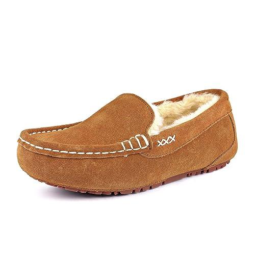 DREAM PAIRS - Zapatillas de andar por casa, tipo mocasín, de piel de oveja