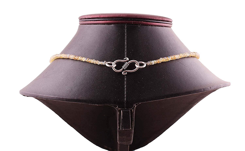 Neerupam Sammlung Natur Edelstein Ethopian Feuer Opal Rondelle Form Perlen Halskette f/ür Frauen und M/ädchen