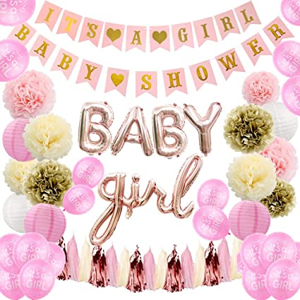 Baby Shower Decorations: Its a Girl Pennant Banner/& Mom to Be Sash Baby Shower Decorations for Girl Baby Girl Shower Decorations Kit with Banners Balloons Pink Pom Poms and Lanterns