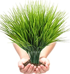 Artificial Plants Outdoor UV resistant Faux Plastic Wheat Grass Fake Leaves Shrubs Window Box Wholesale Greenery Bushes Indoor Outside Home Garden Light Green Verandah Office Windowsill Decor- 4 PCS
