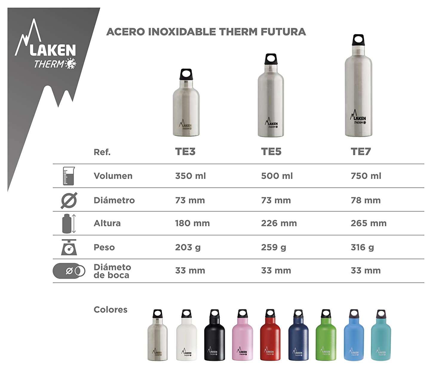 Laken Futura Thermo Insulated Stainless Steel Water Bottle Narrow Mouth