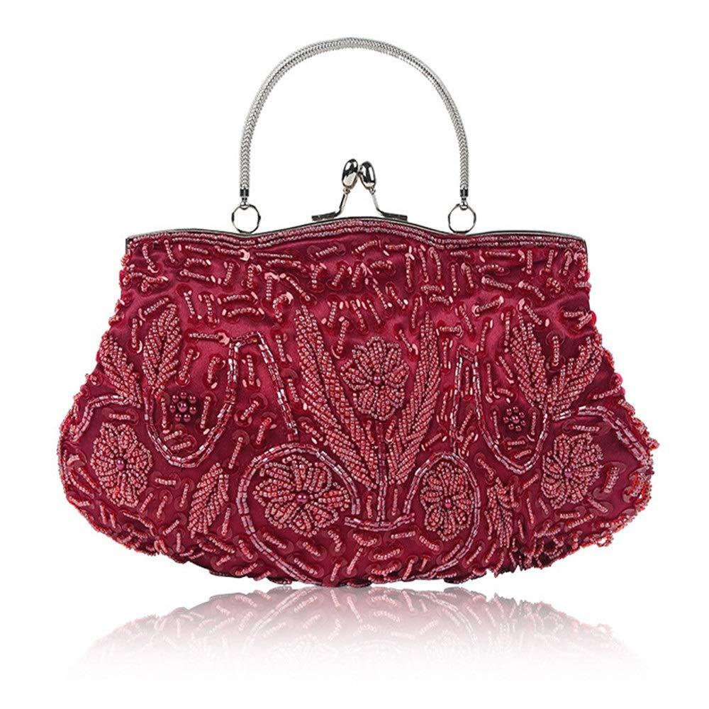Zhao Xiemao Clutch Bag Womens Bead Sequin Vintage Evening Bag Wedding Party Handbag Evening Bag Color : Blue, Size : Free Size