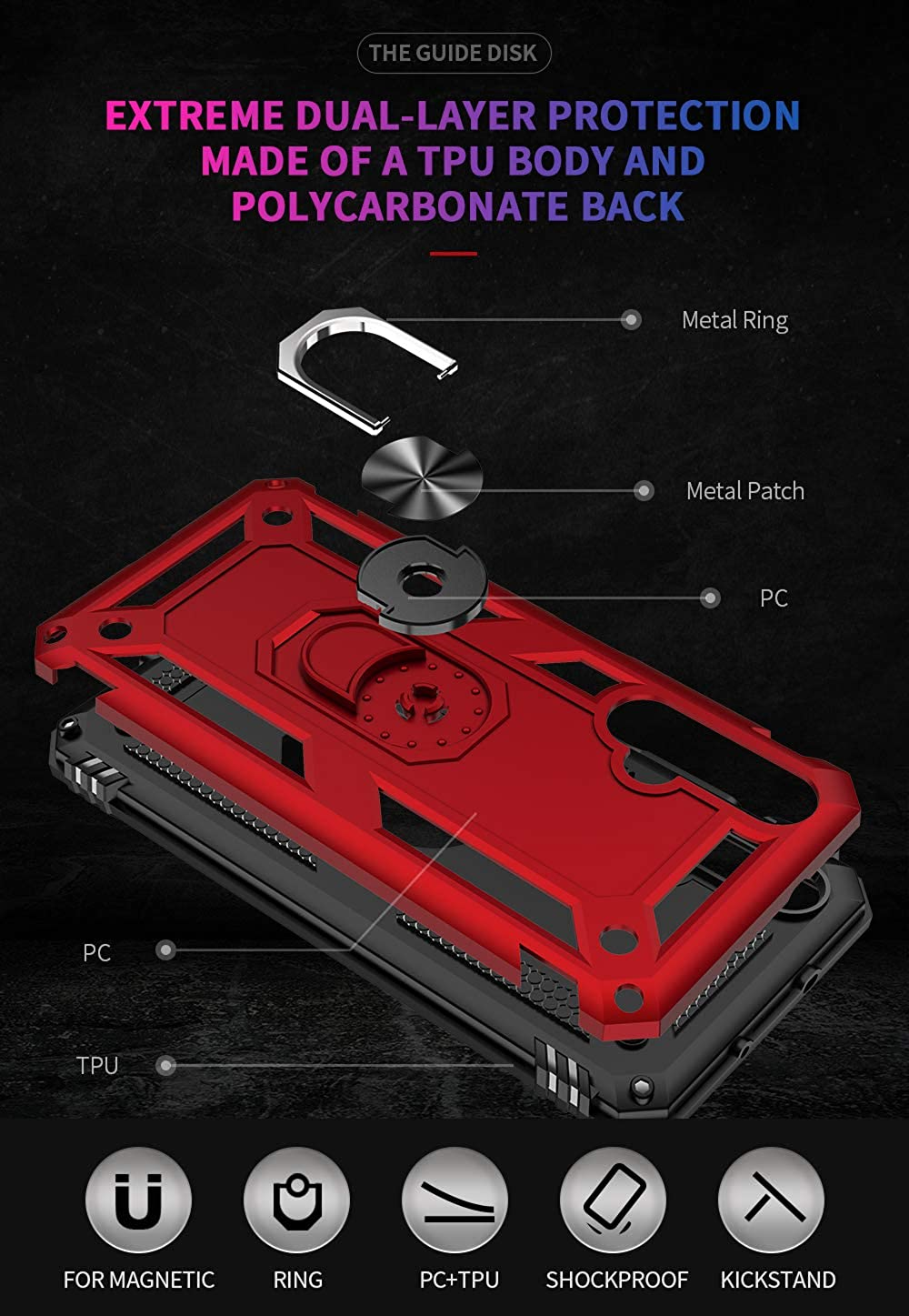 for Huawei Nova 5T case Hard Shell Military Grade Duty Cover with Holder Kickstand 360/°Ring Grip Cases for Magnetic Car Mount