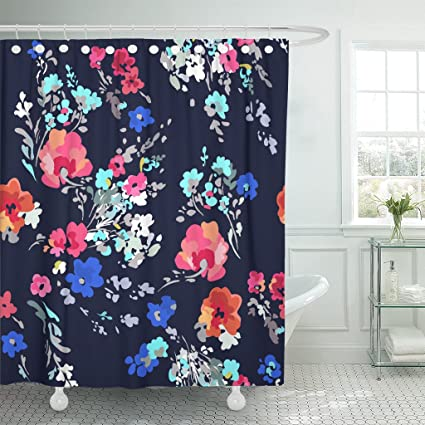 Amazon TOMPOP Shower Curtain Watercolor Pattern Pretty And