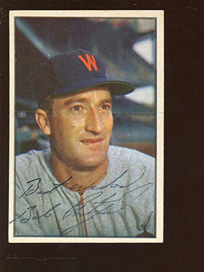 1953 Bowman Color Baseball Card 22 Bob Porterfield Autographed