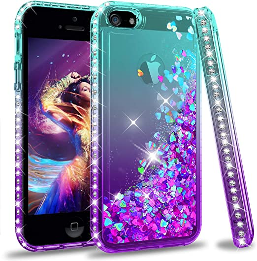 iPhone 5S Case, iPhone 5 Case, iPhone SE 2016 Case with 2 Pack Screen Protector for Girls Women, LeYi Coque Glitter Cute Design Quicksand Moving ...