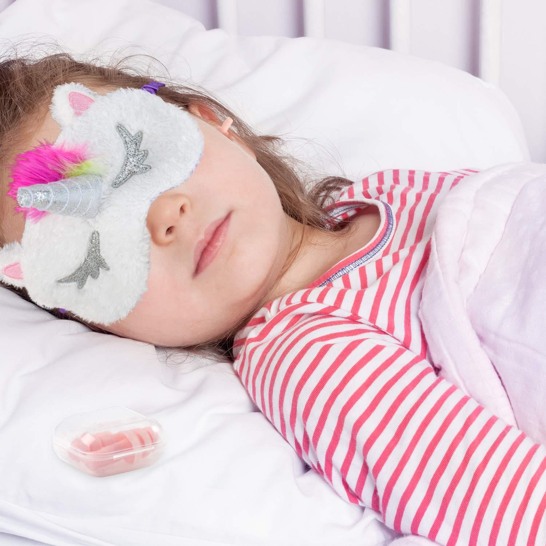 Whaline Lot de 4 masques de sommeil licorne avec 4 bouchons doreille en peluche douce pour les yeux en corne mignon pour femmes filles voyage m/éditation sieste nuit nuit