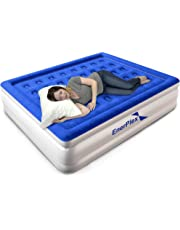 """EnerPlex Premium Dual Pump Luxury Air Mattress Airbed with Built in Pump Raised Double High Blow Up Bed for Home Camping Travel 2-Year Warranty – 13"""" High"""