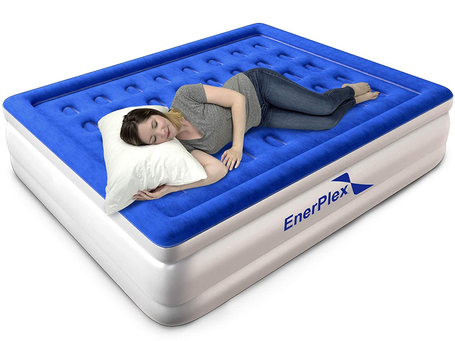 EnerPlex Upgraded Queen Air Mattress with Built-in Pump, Never-Leak Elevated Double High Queen Airbed for Guests, Blow Up Beds for Adults, Luxury Flocked Top, Inflatable Mattress, 2-Year Warranty