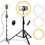 Ring Light with Tripod Stand, Doosl 10'' Ring Light with 63in Stand & Phone Holder - Dimmable Beauty Ringlight for Live…