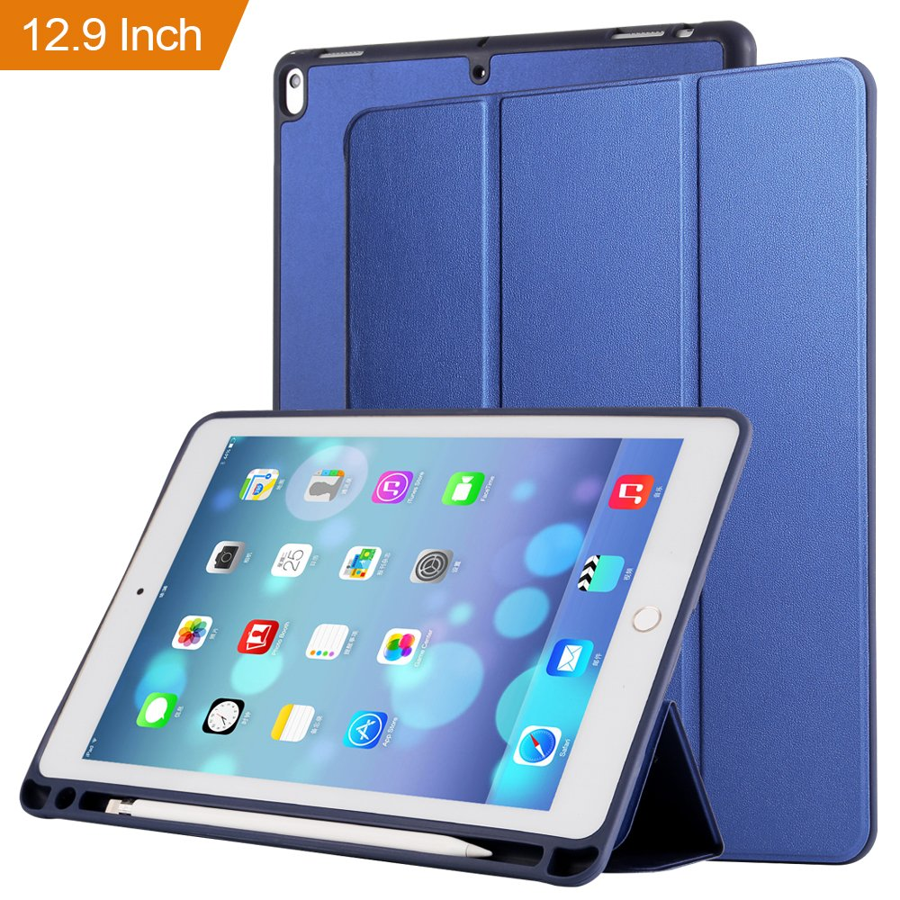 Case for ipad Pro 12.9 with Stand and Pencil Holder, PU Leather Smart Cover Magnetic Trifold Stand Auto Wake up/Sleep for ipad Pro 12.9 2017 2018(Blue) by Coralov (Image #2)