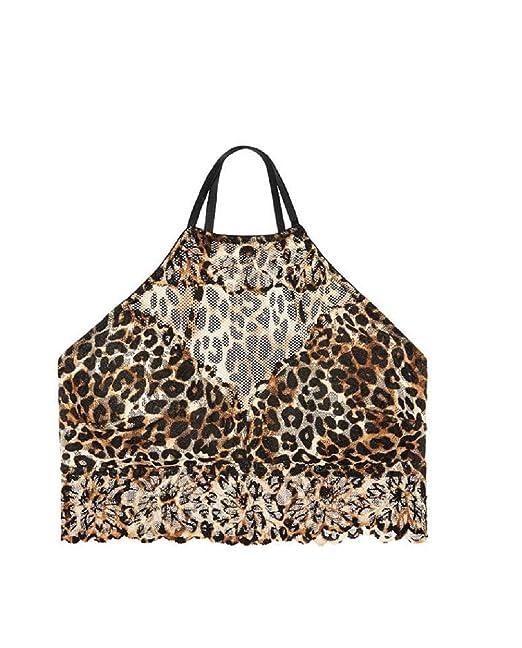 6c9346cbb58 VS Pink Victoria s Secret Pink High Neck Leopard Lace Unlined Bralette  (Medium)