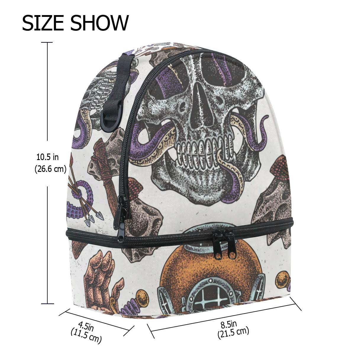 50720479c320 Amazon.com - HEOEH Skull Snake Axe Seahorse Hand Lunch Bag Insulated ...