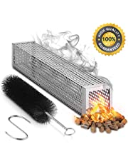 """MVZAWINO Pellet Smoker Tube for All Grill Electric Gas Charcoal or Smokers- 5 Hours of Billowing Smoke - Cold or Hot Smoking- Ideal for Smoking Cheese Nuts Steaks Fish Pork Beef - 12"""" Stainless Steel"""