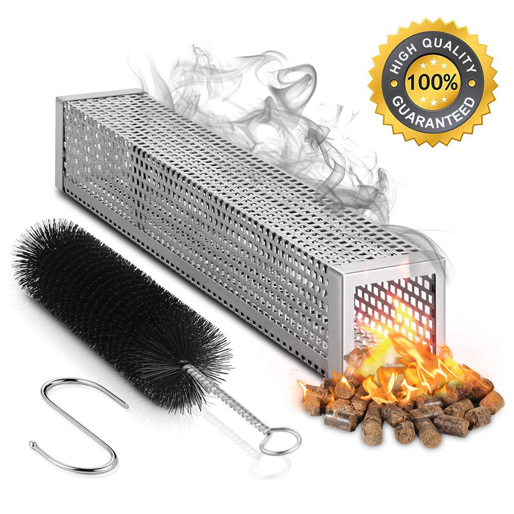 MVZAWINO Pellet Smoker Tube for All Grill Electric Gas Charcoal or Smokers- 5 Hours of Billowing Smoke - Cold or Hot Smoking- Ideal for Smoking Cheese Nuts Steaks Fish Pork Beef - 12'' Stainless Steel by MVZAWINO