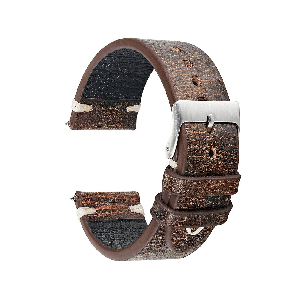 KZfashion 18mm - 24mm Handmade Watches Band Replacement Belt Real Leather Wrist Watch Strap Buckle Steel Spring Bar Back Various Colors can be Selected Retro (22mm, Dark Coffee)