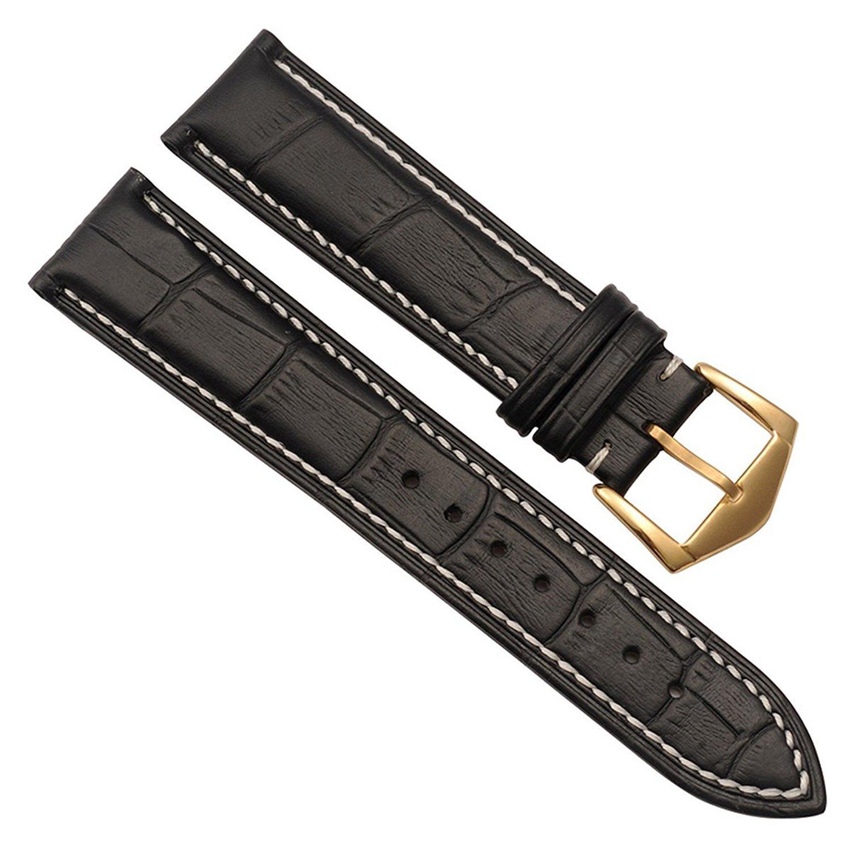 交換用の腕時計ベルト 本革 ステンレスメタル製の中留付き 21mm White Stitch/Black 21mm|White Stitch/Black White Stitch/Black 21mm B01G510ICC
