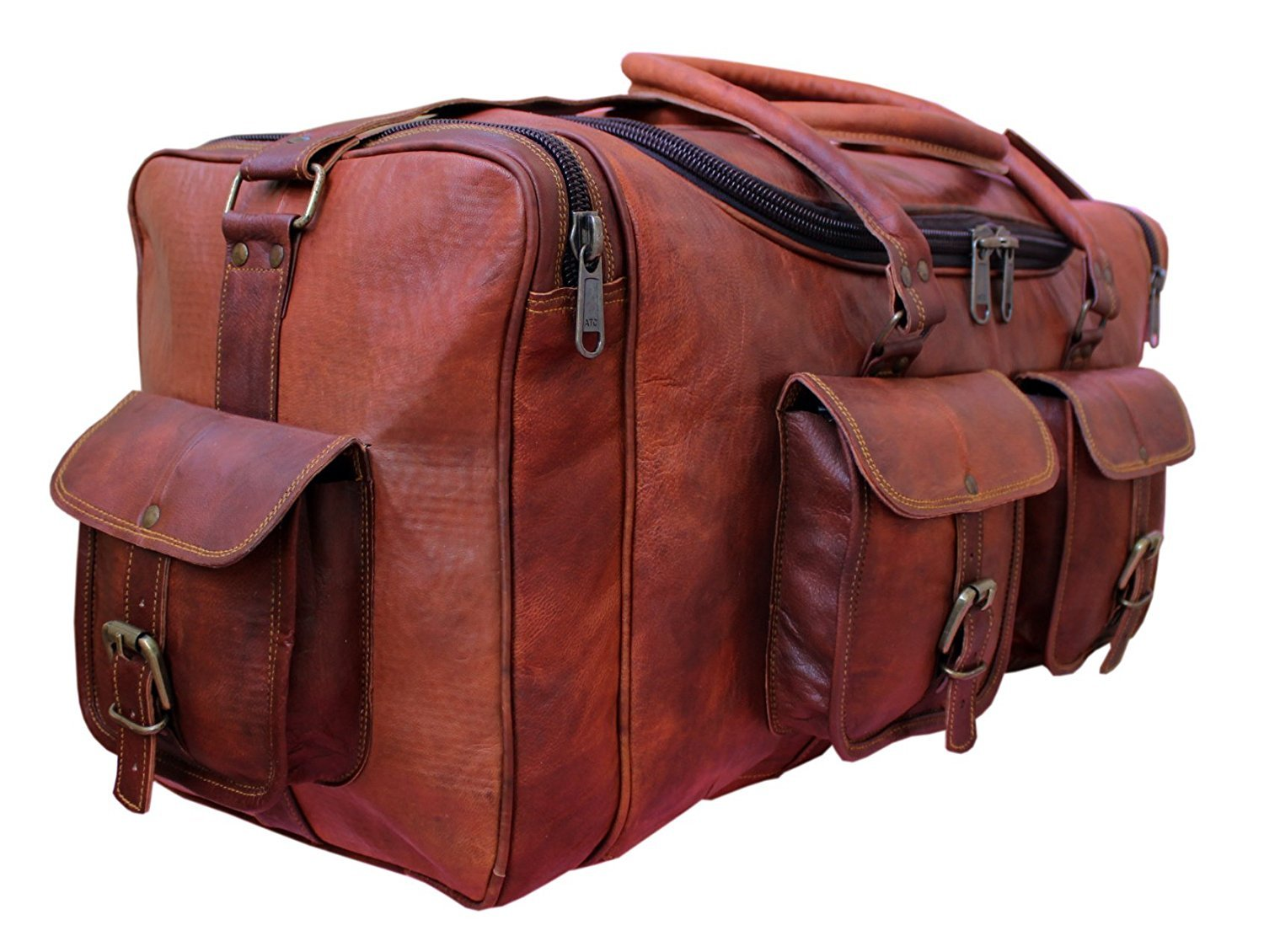 Vintage Leather 24'' Square Chain Duffel Travel Gym Sports Overnight Weekend Leather Bag by handolederco.