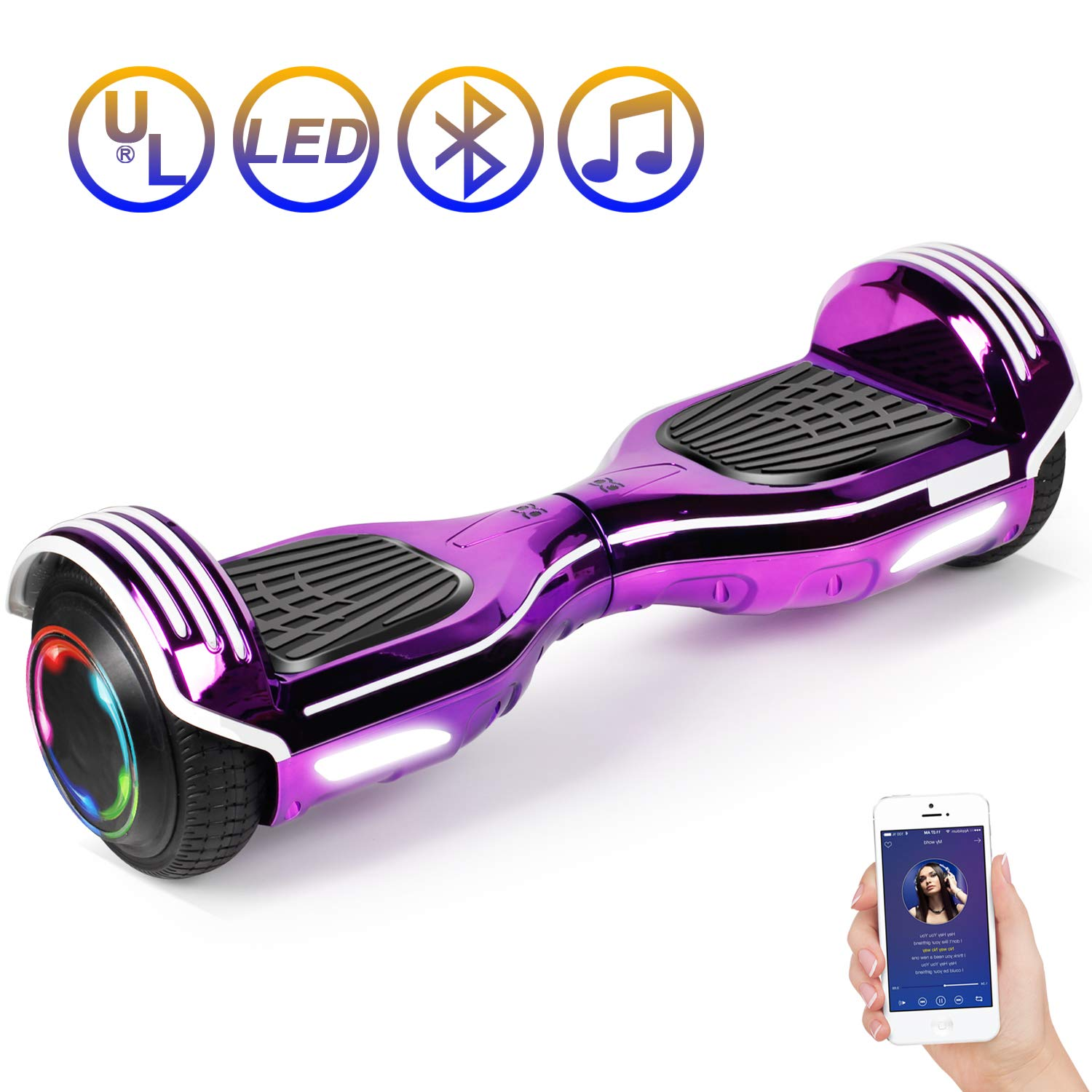 SISIGAD Hoverboard Self Balancing Scooter 6.5'' Two-Wheel Self Balancing Hoverboard with Bluetooth Speaker Electric Scooter for Adult Kids Gift UL 2272 Certified 138A Series - Plating Purple by SISIGAD