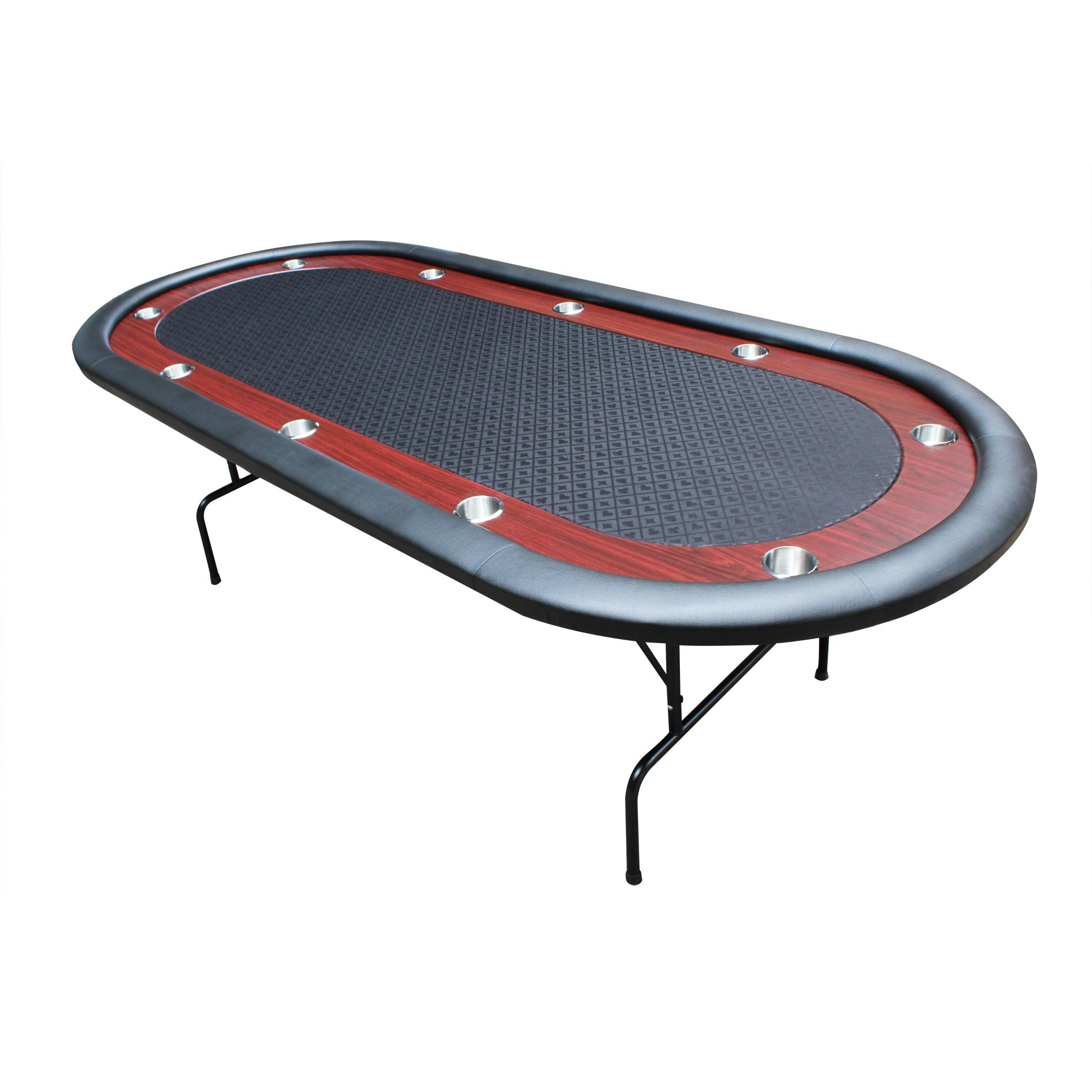 """IDS Texas Hold'em Poker Table 10 Players With Wooden Racetrack Cup Holders Foldable Legs- 96"""" x 43"""" x 30"""" Inch Oval - Black"""