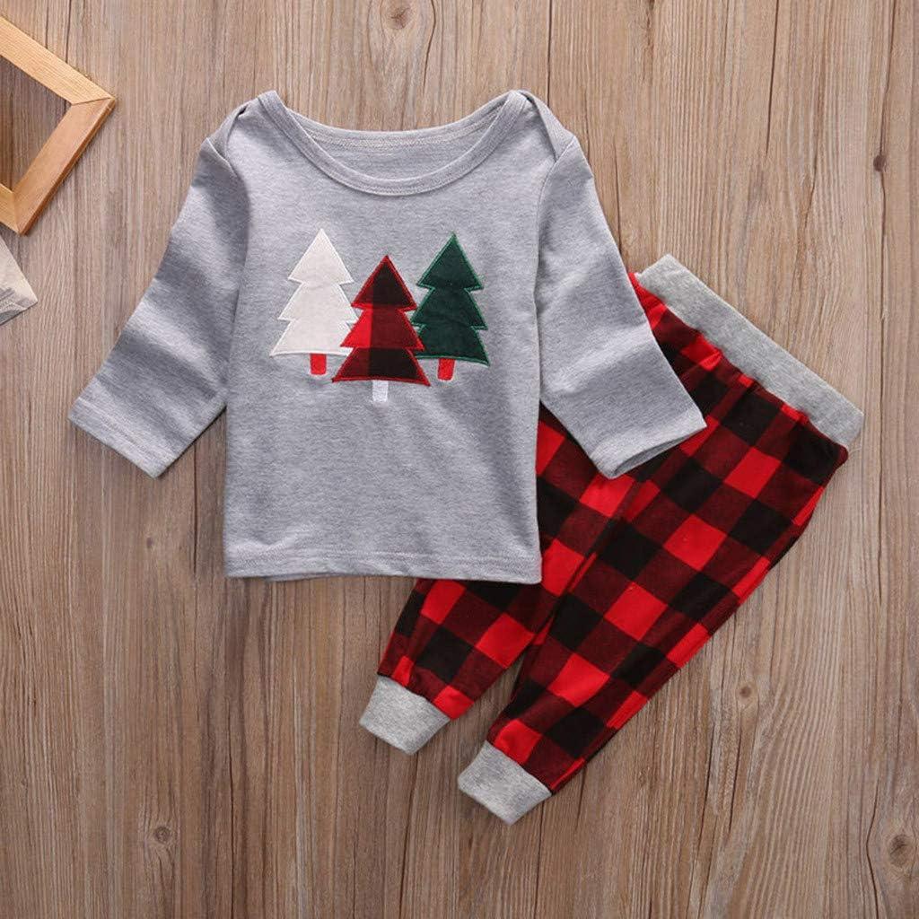 GNYD 12M-6T T-Shirt con Stampa di Albero di Natale A Maniche Lunga per Bambini A Maniche Lunga per Bambiniset di Pantaloni A Fiori Scozzesi Neonate Caldo