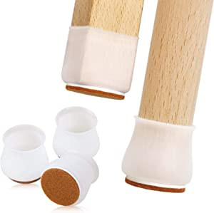 24 Pcs Silicone Chair Leg Floor Protectors, Furniture Pads for Hardwood Floors with Felt Pads, Move Furniture Quietly and Protect Your Floors from Scratches