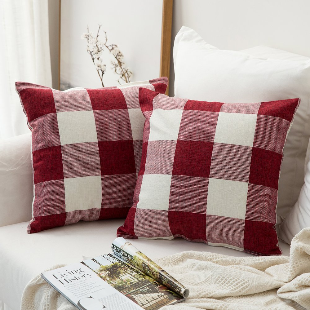 Red and white buffalo check pillow covers