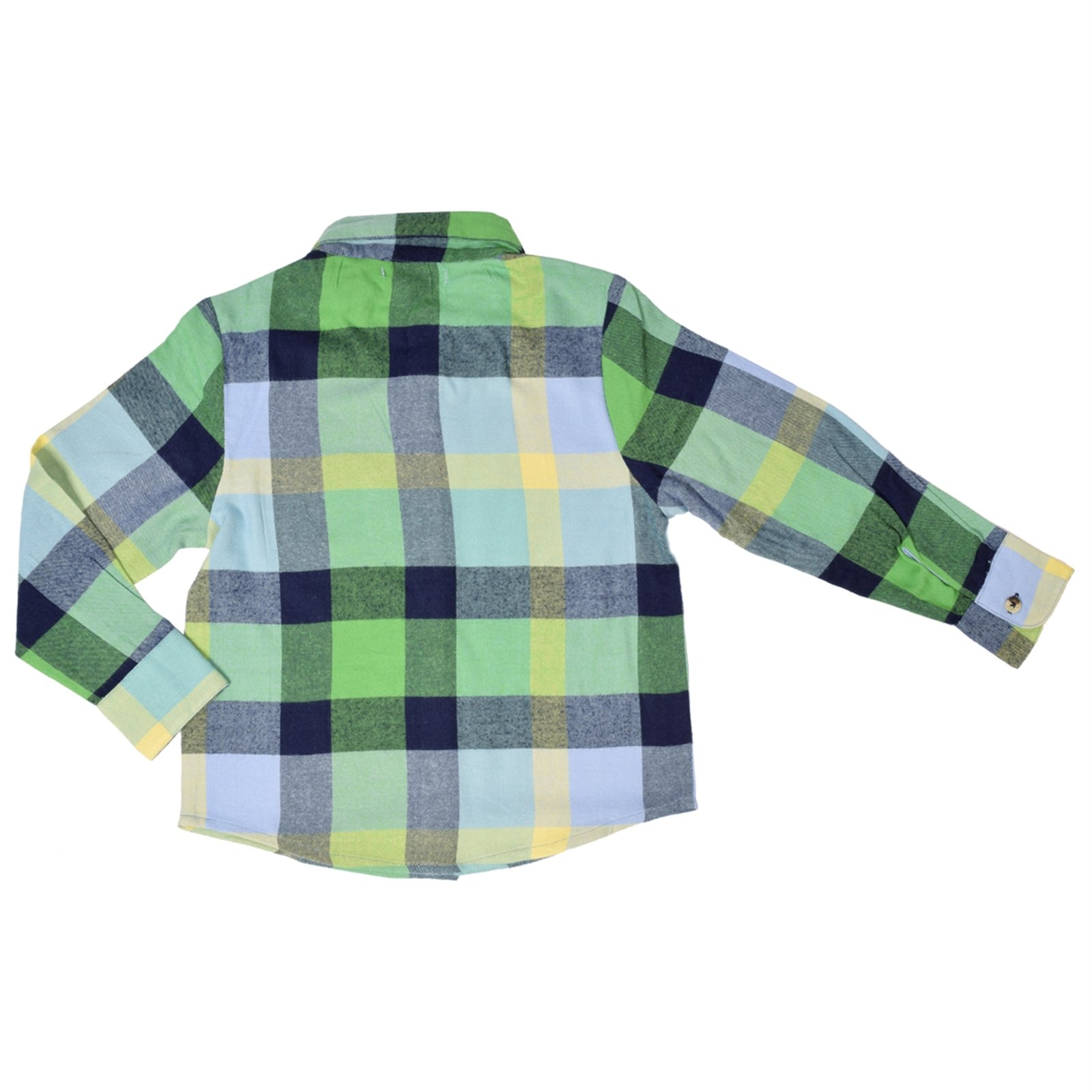 CrayonFlakes Green Cotton Long Sleeve Shirt with Checkered Design