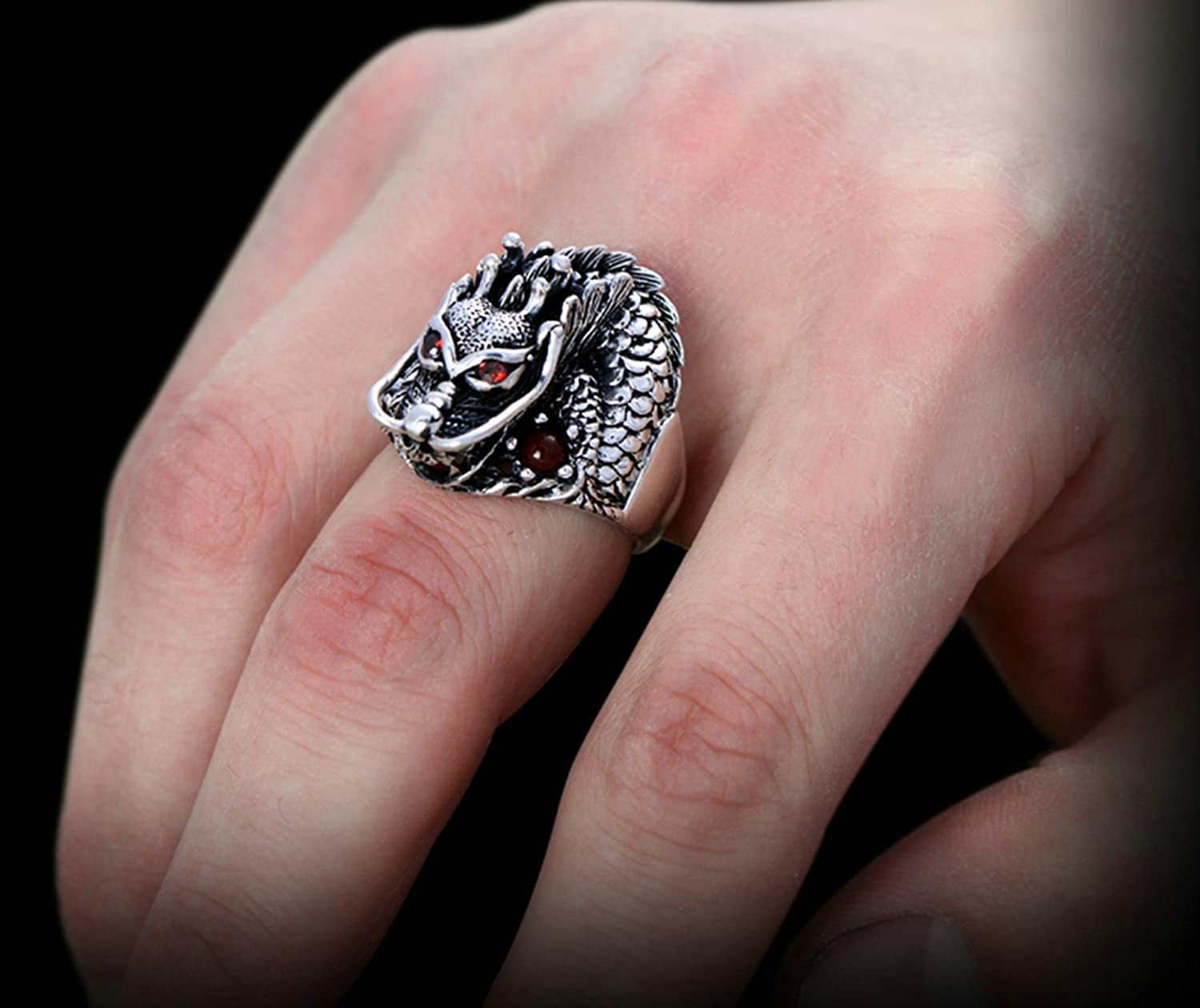 AMDXD Jewelry Men Wedding Ring Sterling Silver Dragon Head Red Zirconia Band Size 7 to Size 12.5