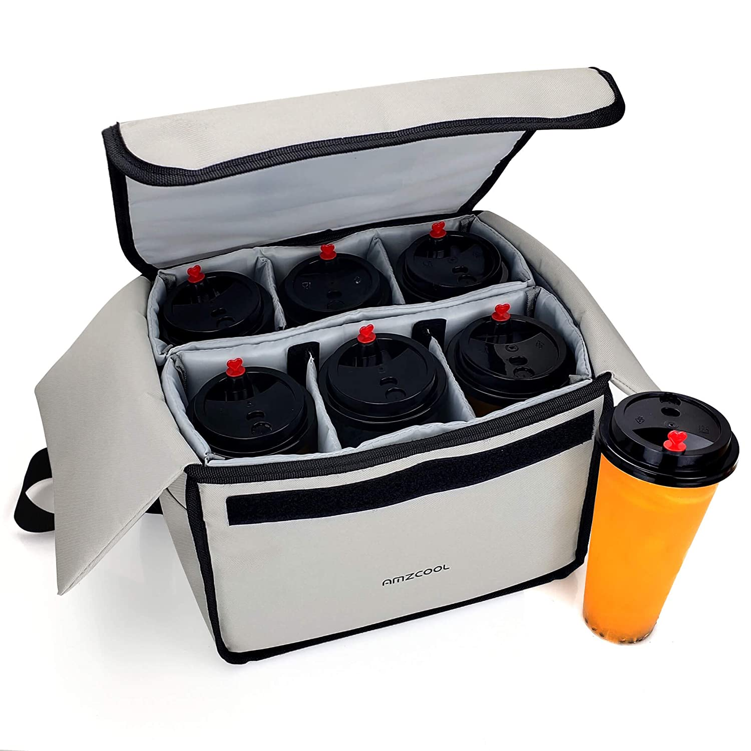Insulated Drink Carrier for Drink Holder and Food Carrier Delivery Keep Your Drink Cold and Food Hot, Reusable Drink Caddy Bag, Cup Carrier Tote Bag with Dividers Clear Pocket Storage Bag