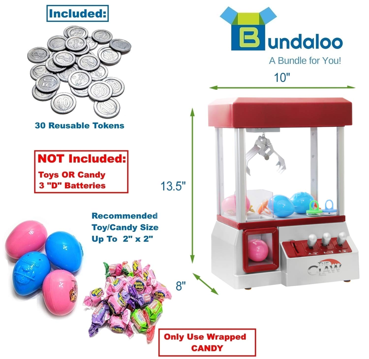 Bundaloo Claw Machine Arcade Game | Candy Grabber & Prize Dispenser Vending Machine Toy for Kids, with Music | Best Birthday & Christmas Gifts for Boys & Girls (Red Claw) by Bundaloo (Image #2)
