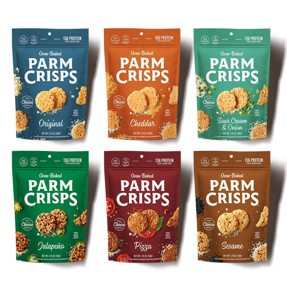 ParmCrisps 6 Count Variety, 1.75 Ounce bags, Keto Snacks, 100% Cheese, Gluten Free