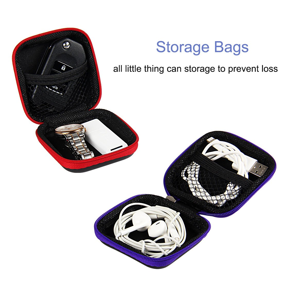 Earbud Carrying Case, ZMLM Mini Storage Pouch with Carabiner for Flash Drive Earphones Headphones USB Cable 4-Pack in 4 Colors