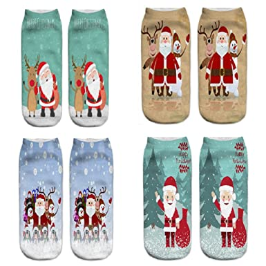 YOBAYE Women 3D Christmas Socks Unisex Cartoon Elk Snowman Santa Socks Women Low Cut Ankle Christmas