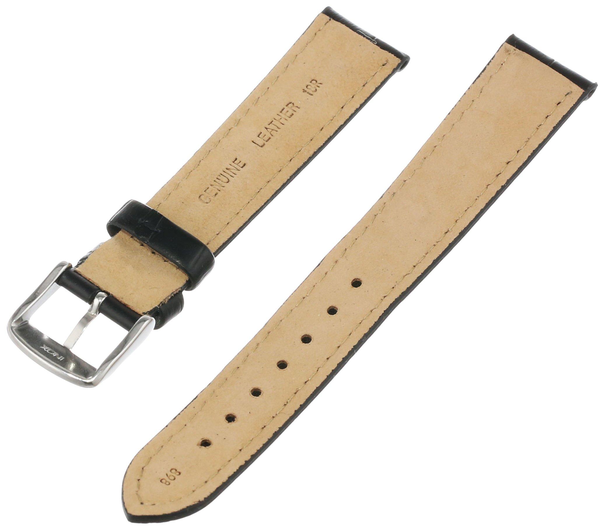 Hadley-Roma Men's MSM898RA-180 18-mm Black Alligator Grain Leather Watch Strap