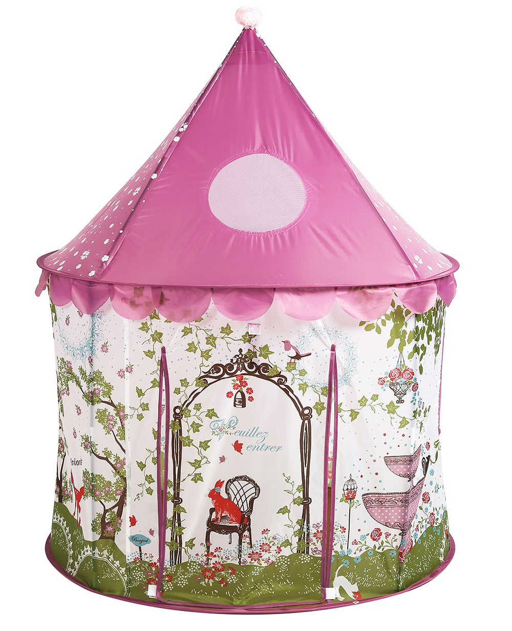UTEX Girls Princess Fairy Tale Castle Play Tent with Pink Prairie Design Foldable for Indoor & Outdoor Use, with Zipper Storage Case by UTEX