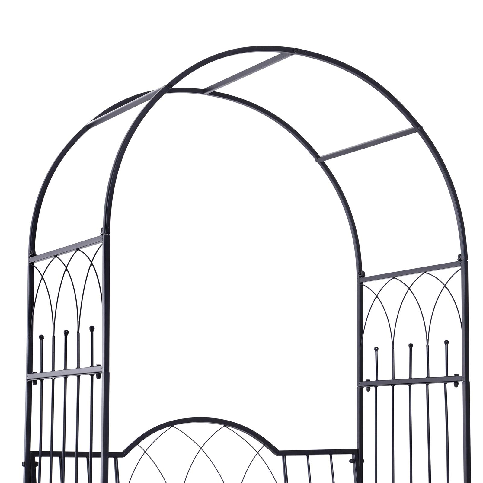 Outsunny Outdoor Garden Arbor Arch Steel Metal with Bench Seat - Black by Outsunny (Image #5)
