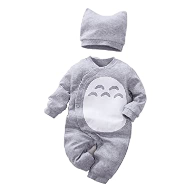 28d3e98ca Amazon.com  Unisex Baby Totoro Long Sleeve Romper with Hat 2-PC Set ...