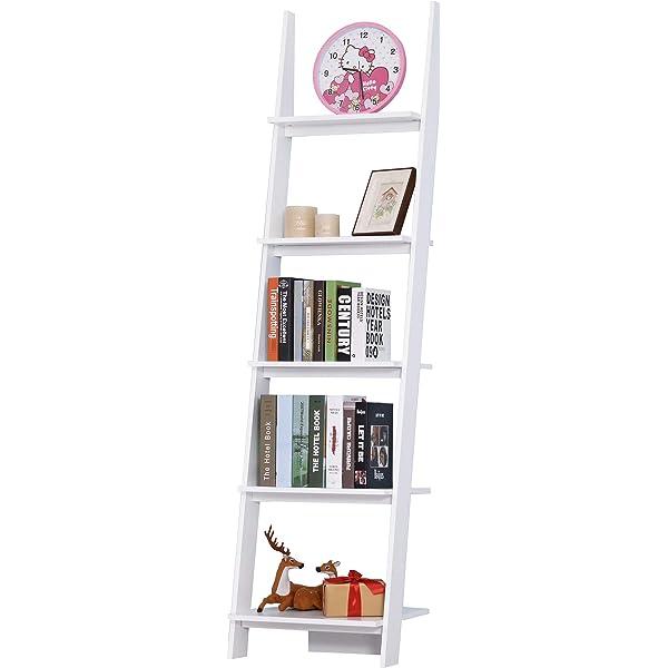 HOMCOM Estantería de Escalera Librería con 5 Estantes Moderna Estantería Escalonada de Pared para Baño Salón Terraza 50x40x195cm: Amazon.es: Hogar