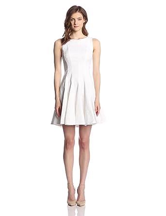 Eliza J Women's Sleeveless Fit and Flare Dress, White, 4
