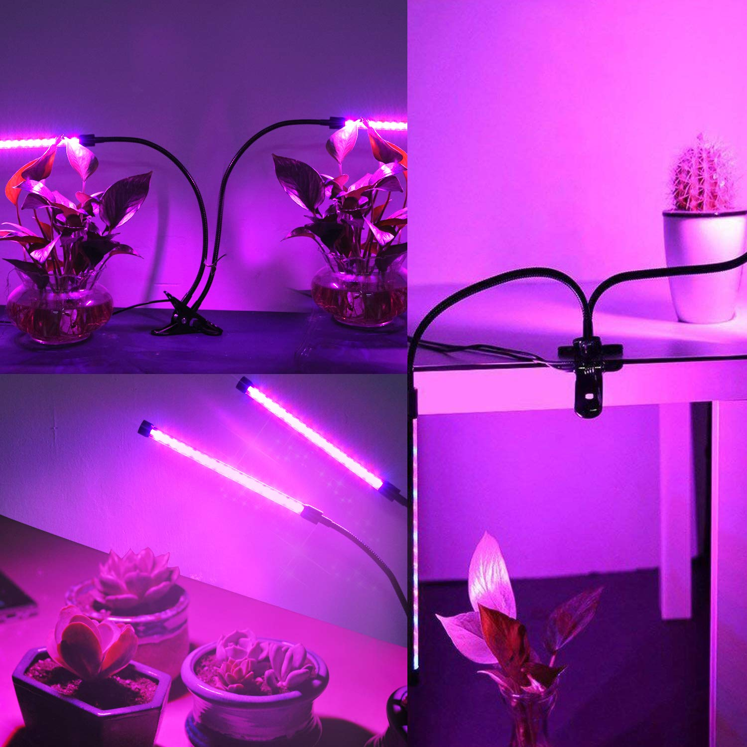 Esonstyle 2018 Upgraded 19W Plant Grow Light Lamps with Auto Turn On/Off Function Dual Head 38 LED 10 Dimmable Levels Grow Lamp Bulbs, 3/9/12H Timer, Spectrum Switching Adjustable (Auto Turn on/Off)