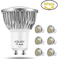 Ampoule LED GU10, 7W 550LM Spot LED, Équivalente 60W Ampoule Halogène, Blanc Chaud 3000K, AC85-265V, 140° Larges Faisceaux, Ampoule Réflecteur LED by Jpodream - Lot de 6