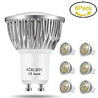 Ampoule LED GU10, 7W 18 x 5730 SMD Lampe LED, Blanc Chaud 3000K, 550lm, AC85-265V, 140°Larges Angle d'Éclairage Ampoule Spot LED by Jpodream - Lot de 6