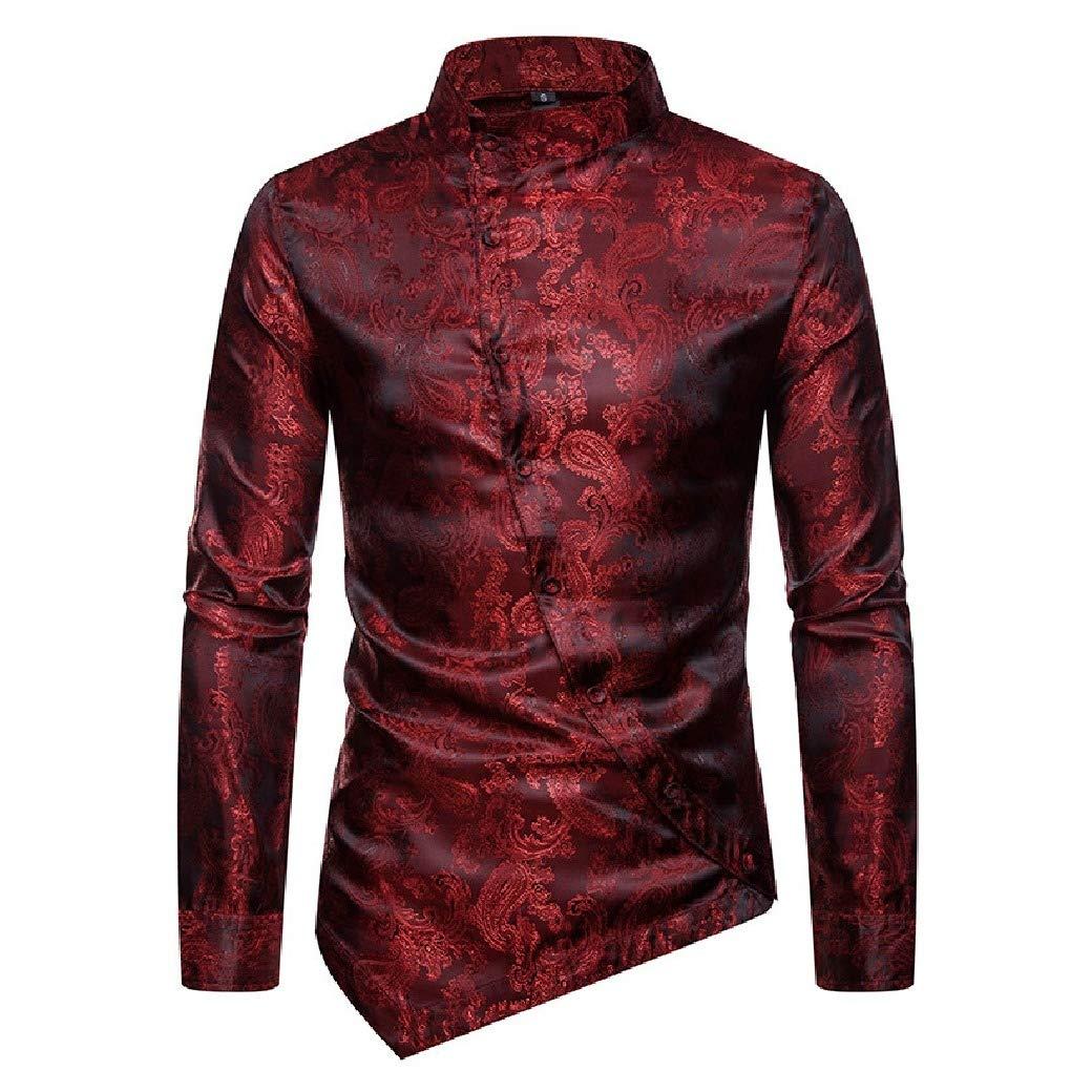 Abetteric Mens Long Sleeve Asymmetric Hem Dark Floral Nightclub Stand Collar Dress Shirt