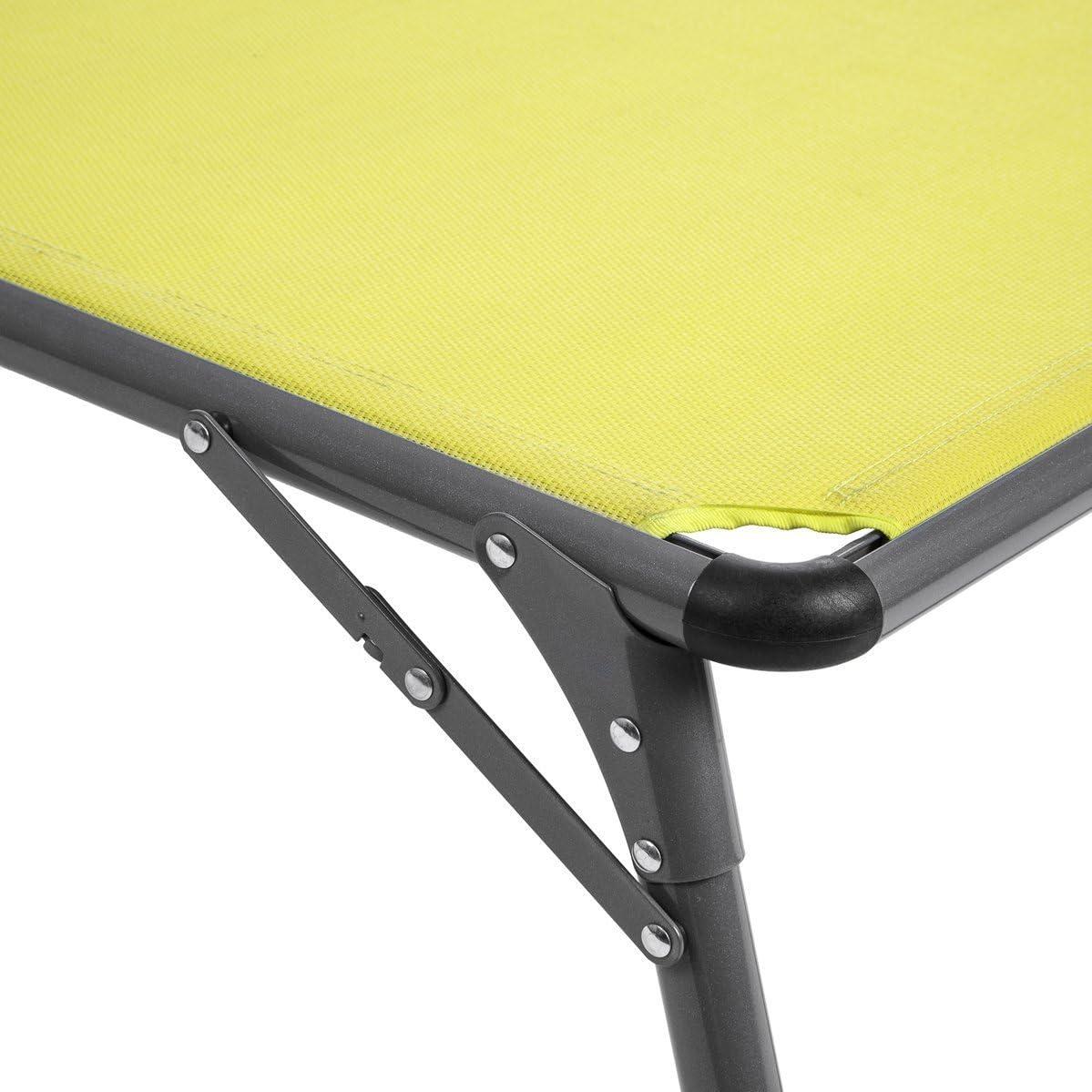 Baltico Aluminium Sonnenliege mit Dach Gartenliege Dreinbeinliege Gelb//Grau klappbar verstellbares R/ückenteil 193 x 67 x 32 cm